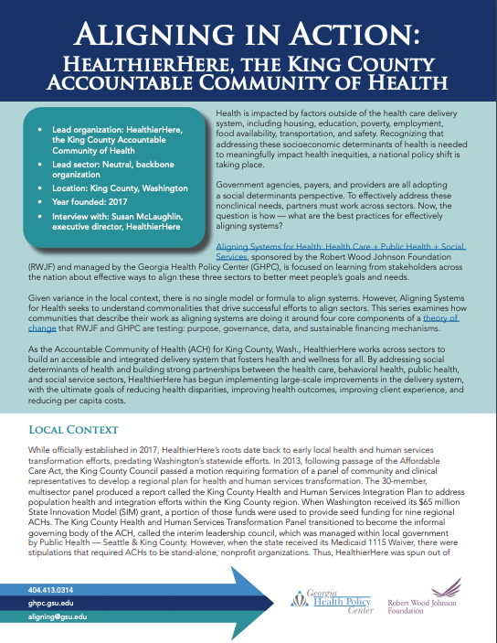 Aligning in Action: HealthierHere, the King County Accountable Community of Health