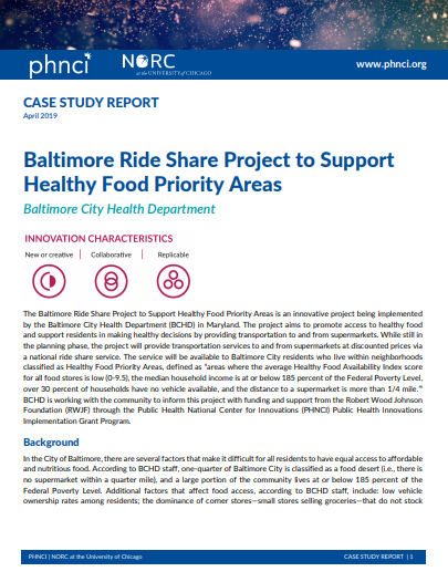 Baltimore Ride Share Project to Support Healthy Food Priority Areas