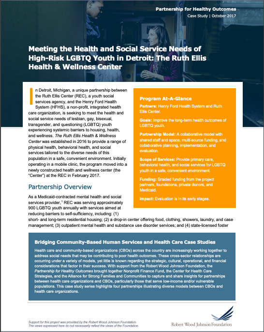 Meeting the Health and Social Service Needs of High-Risk LGBTQ Youth in Detroit: The Ruth Ellis Health and Wellness Center