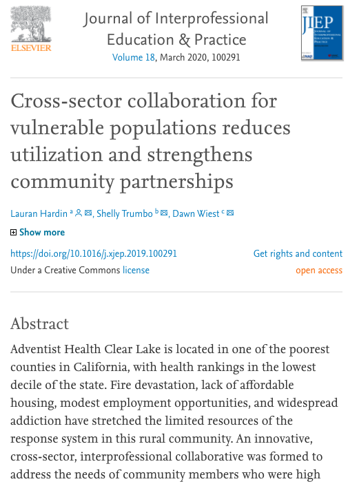 Cross-sector collaboration for vulnerable populations reduces utilization and strengthens community partnerships