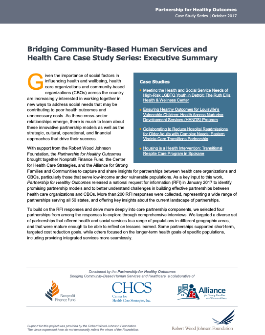 Bridging Community-Based Human Services and Health Care Case Study Series: Executive Summary