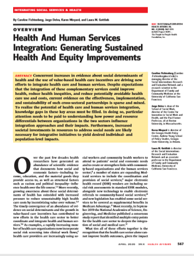 Health And Human Services Integration: Generating Sustained Health And Equity Improvements