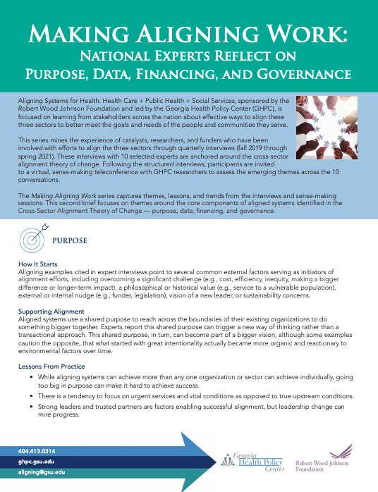 Making Aligning Work: National Experts Reflect On Purpose, Data, Financing, And Governance
