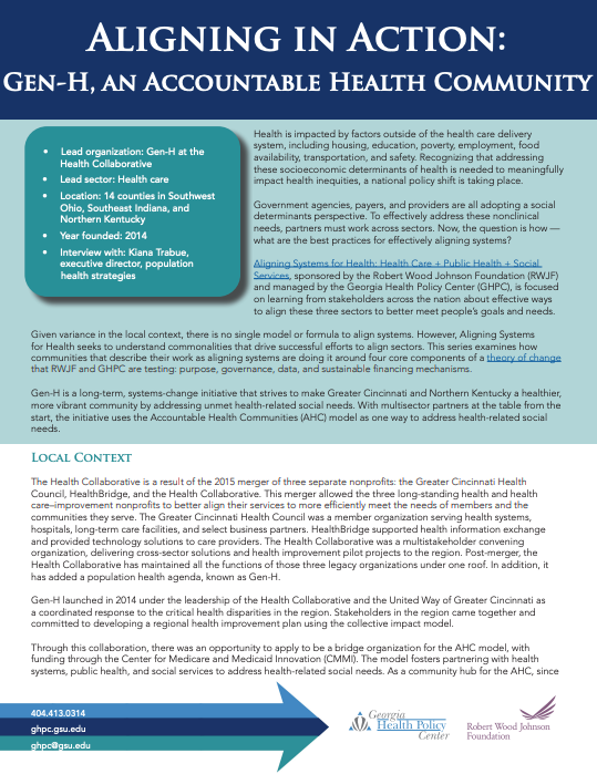 Aligning In Action: Gen-H, An Accountable Health Community