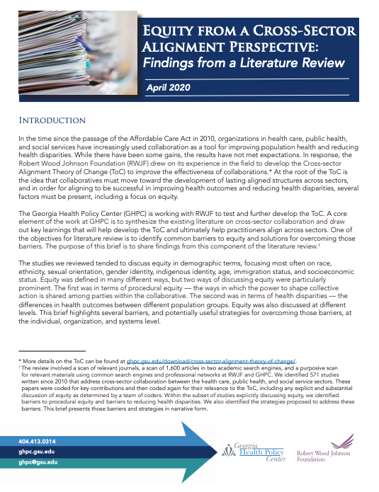 Equity From A Cross-Sector Alignment Perspective: Findings From A Literature Review