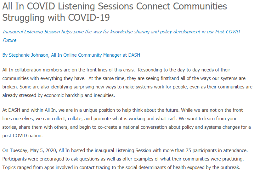 All In COVID Listening Sessions Connect Communities Struggling with COVID-19