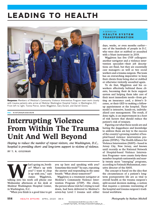 Interrupting Violence From Within The Trauma Unit And Well Beyond
