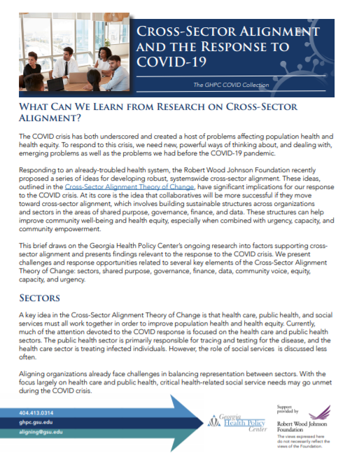 Cross-Sector Alignment and the Response to COVID-19
