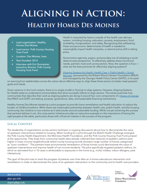 Aligning In Action: Healthy Homes Des Moines