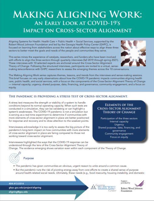 Making Aligning Work: An Early Look At Covid-19's Impact On Cross-sector Alignment