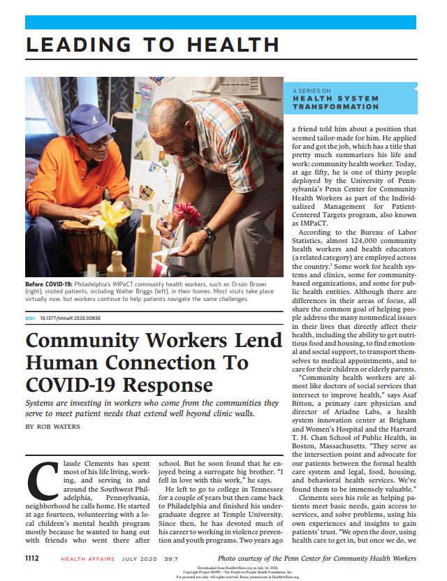 Community Workers Lend Human Connection To COVID-19 Response
