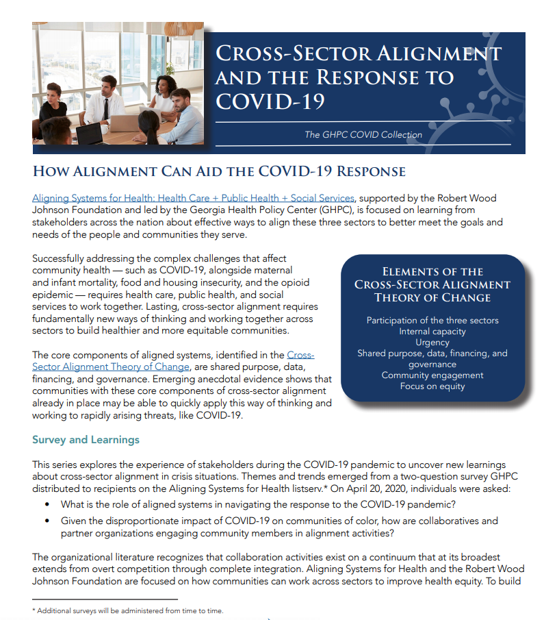 Cross-Sector Alignment And The Response To COVID-19: How Alignment Can Aid the COVID-19 Response