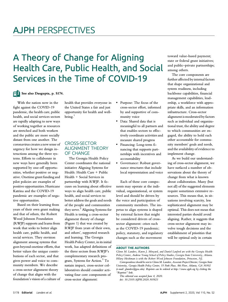 A Theory of Change for Aligning Health Care, Public Health, and Social Services in the Time of COVID-19