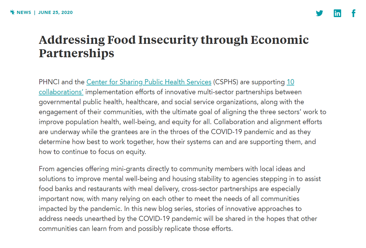 Addressing Food Insecurity through Economic Partnerships