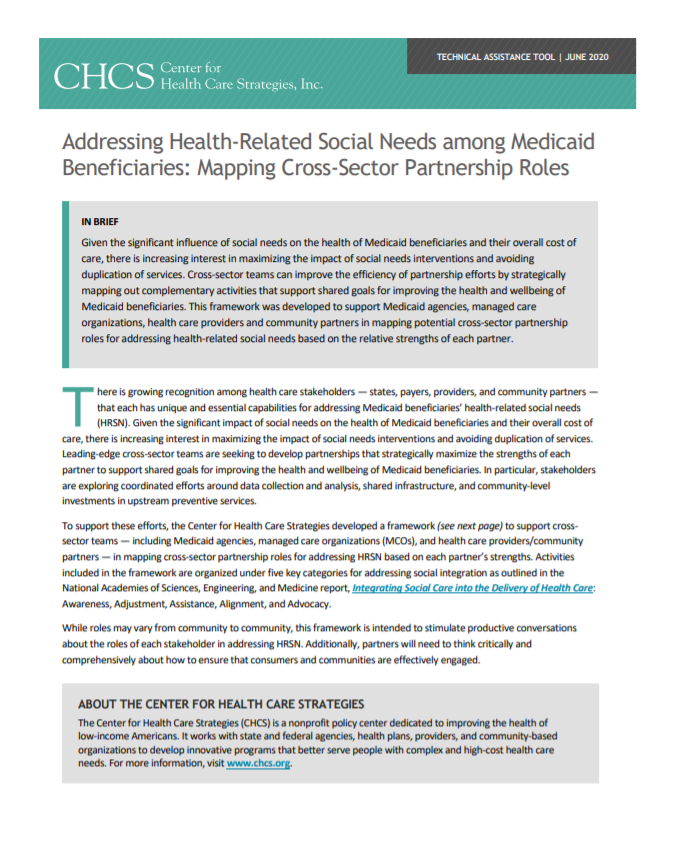 Addressing Health-Related Social Needs Among Medicaid Beneficiaries: Mapping Cross-Sector Partnership Roles
