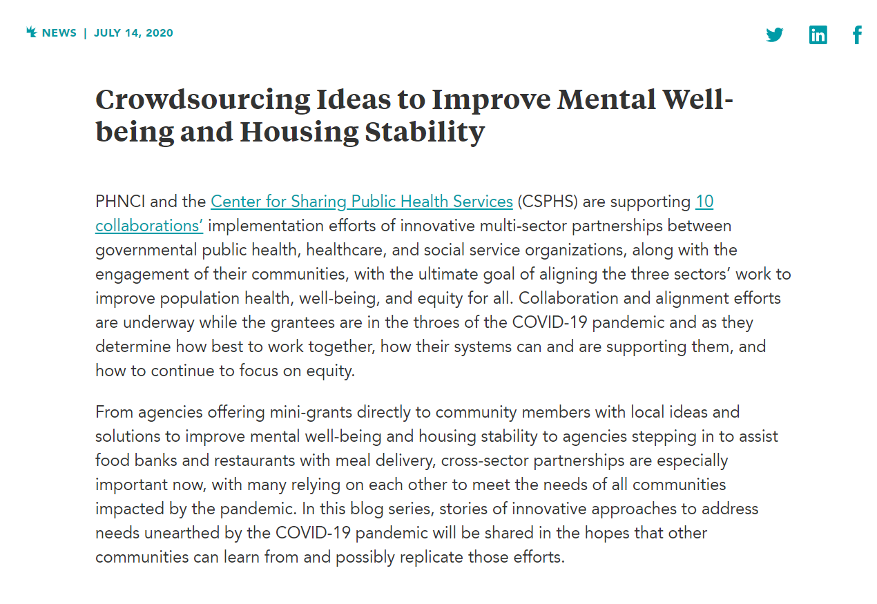 Crowdsourcing Ideas to Improve Mental Well-being and Housing Stability