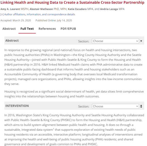 Linking Health and Housing Data to Create a Sustainable Cross-Sector Partnership