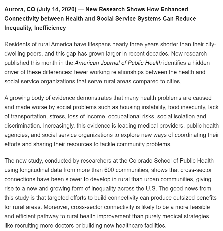 New Research Shows How Enhanced Connectivity between Health and Social Service Systems Can Reduce Inequality, Inefficiency