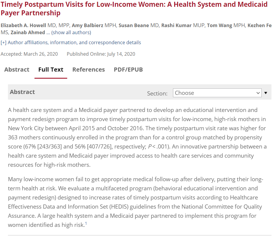Timely Postpartum Visits for Low-Income Women: A Health System and Medicaid Payer Partnership
