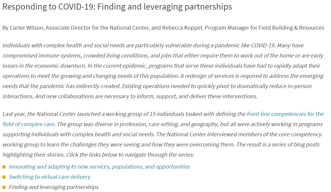 Responding to COVID-19: Finding and leveraging partnerships