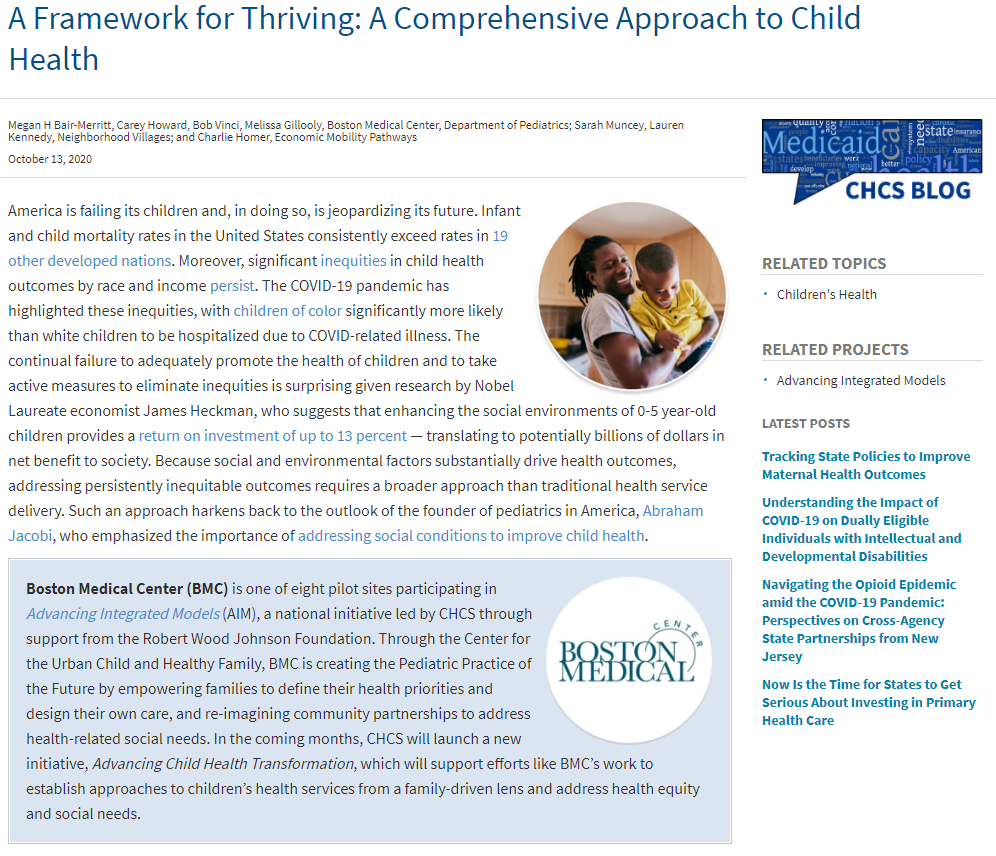 A Framework for Thriving - A Comprehensive Approach to Child Health