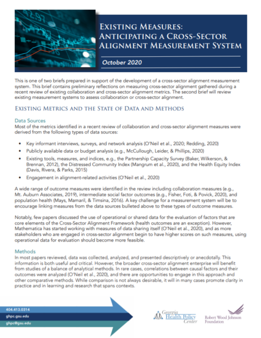 Existing Measures: Anticipating a Cross-Sector Alignment Measurement System