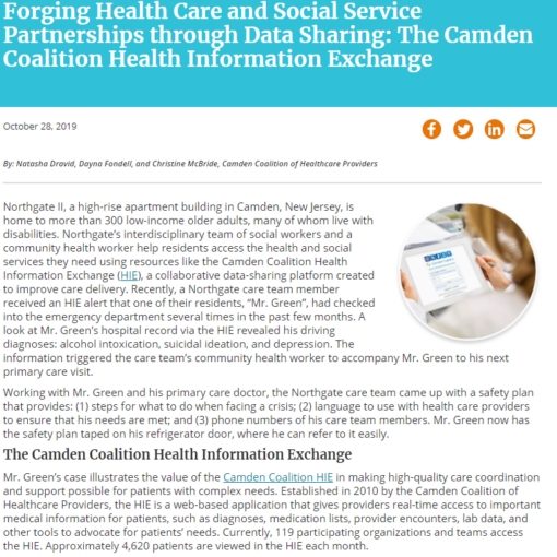 Forging Health Care and Social Service Partnerships through Data Sharing