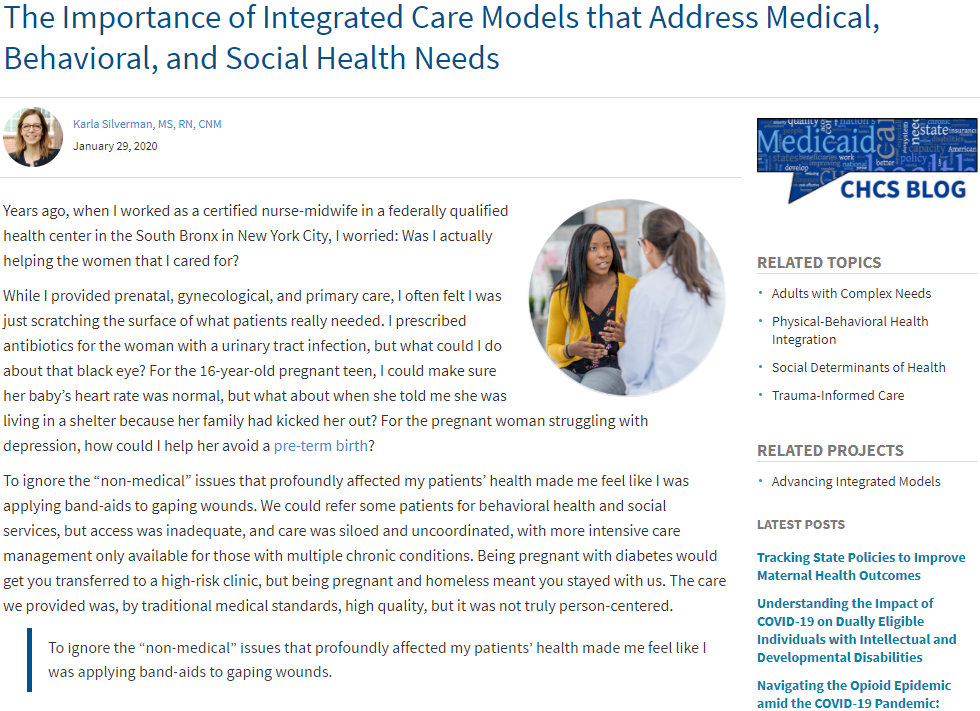 The Importance of Integrated Care Models that Address Medical, Behavioral, and Social Health Needs