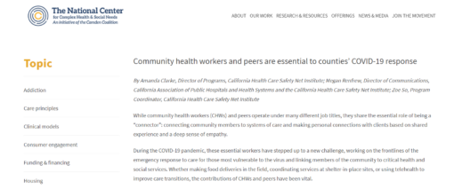Community Health Workers and Peers are Essential to Counties' COVID-19 Response