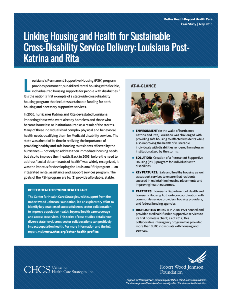 Linking Housing and Health for Sustainable Cross-Disability Service Delivery: Louisiana Post-Katrina and Rita