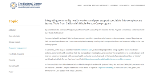 Integrating Community Health Workers and Peer Support Specialists into Complex Care Teams: Tools from California's Whole Person Care Program