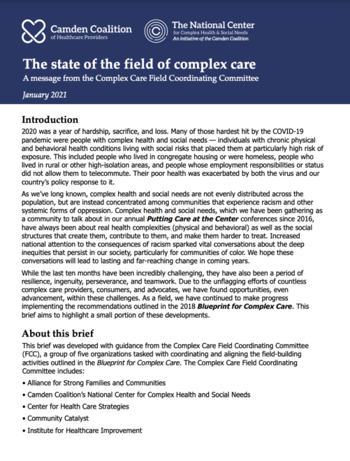 The State of the Field of Complex Care