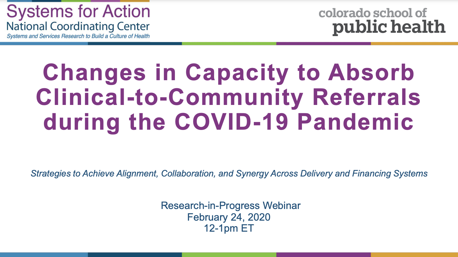 Changes in Capacity to Absorb Clinical-to-Community Referrals during the COVID-19 Pandemic
