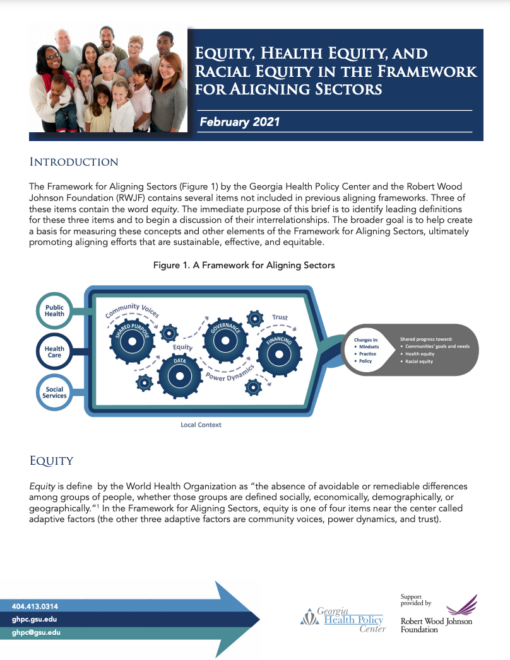 Equity, Health Equity, and Racial Equity in the Framework for Aligning Sectors