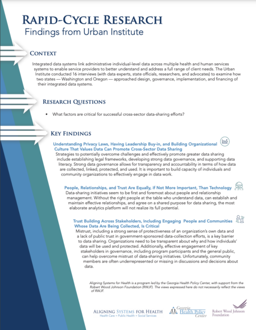 Page of Aligning Systems for Health brief with text and branding