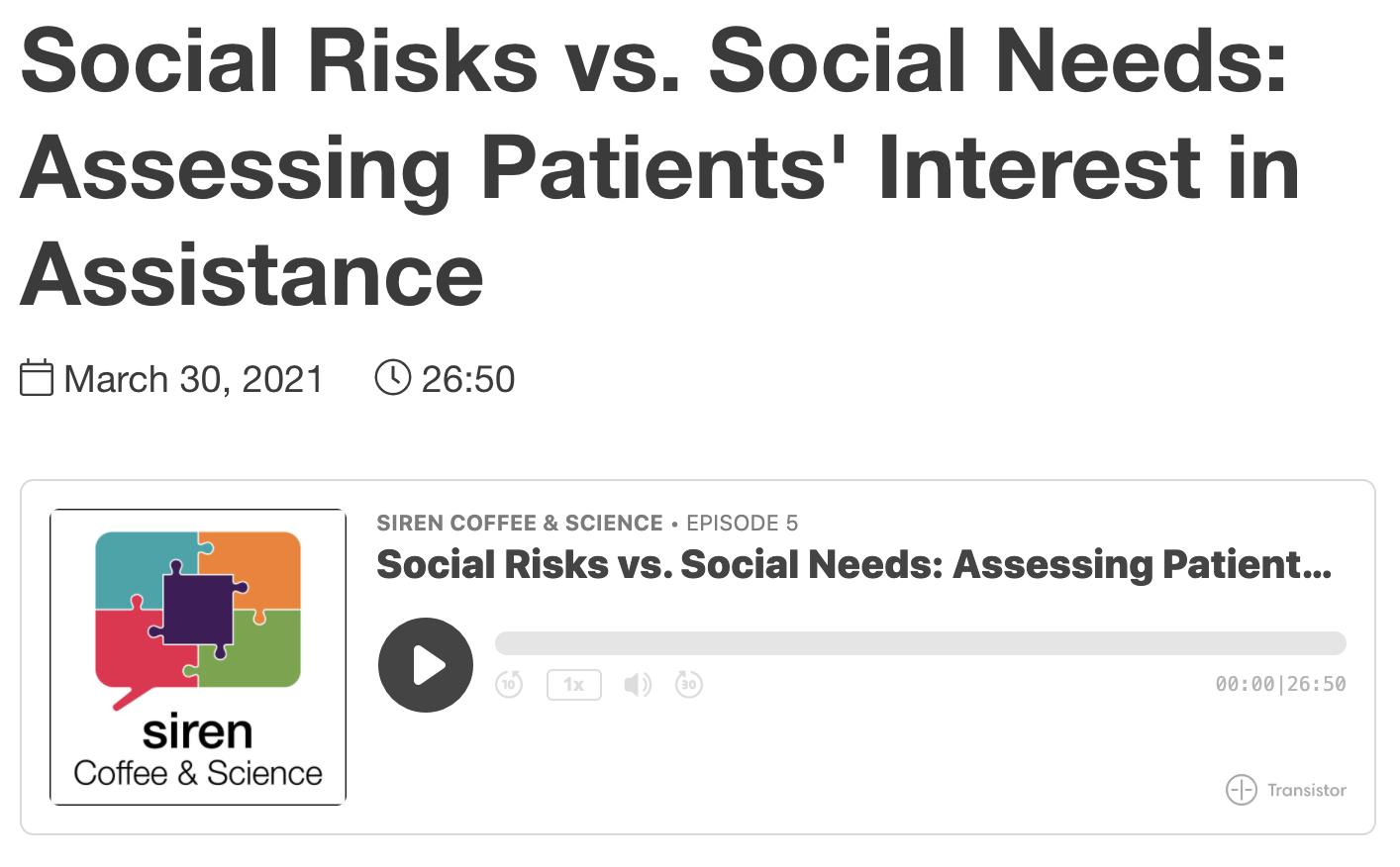 Social Risks vs. Social Needs: Assessing Patients' Interest in Assistance