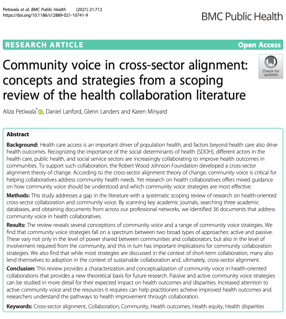 Community Voice In Cross-Sector Alignment: Concepts and Strategies from a Scoping Review of the Health Collaboration Literature