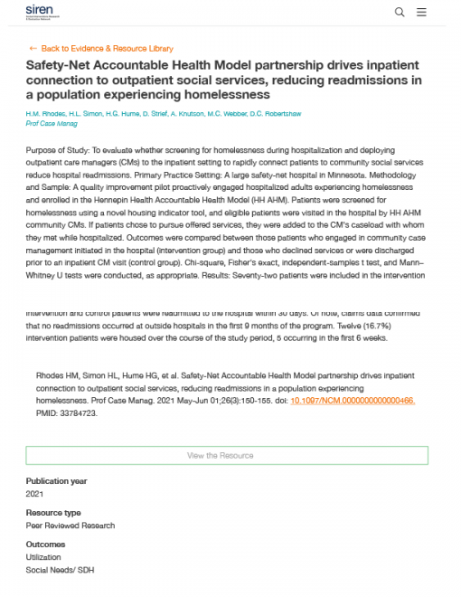 Safety-Net Accountable Health Model Partnership Drives Inpatient Connection to Outpatient Social Services, Reducing Readmissions in a Population Experiencing Homelessness