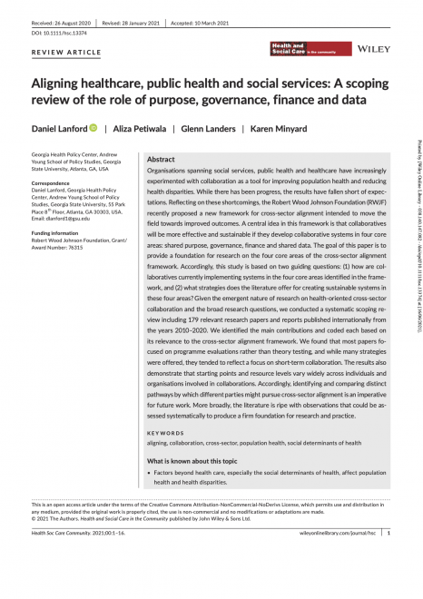 Aligning Healthcare, Public Health and Social Services: A Scoping Review of the Role of Purpose, Governance, Finance and Data