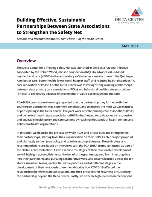 Building Effective, Sustainable Partnerships Between State Associations to Strengthen the Safety Net