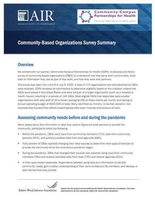 Community-Based Organizations Survey Summary