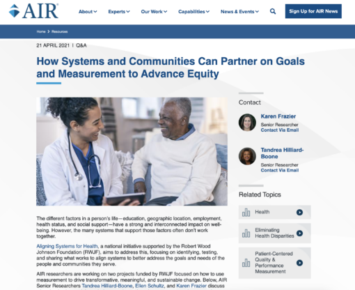 How Systems and Communities Can Partner on Goals and Measurement to Advance Equity